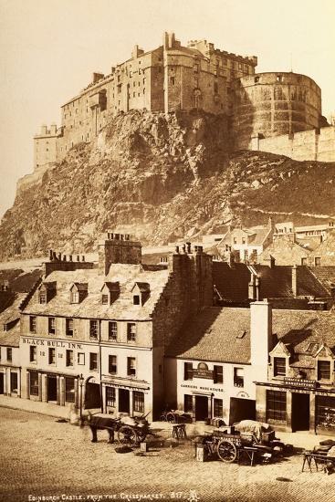 View of Edinburgh Castle from the Grassmarket--Photographic Print