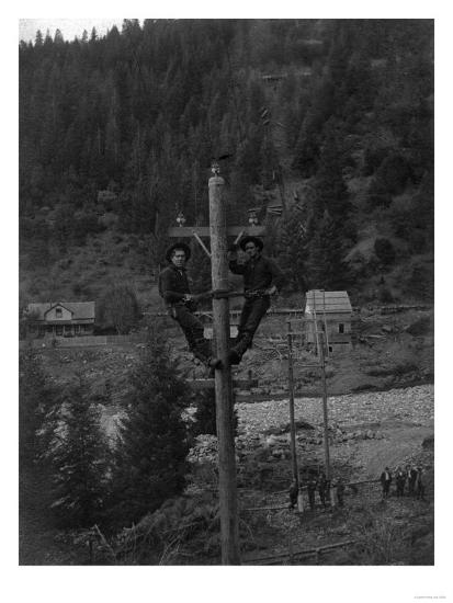 View of Electricians Fixing Wired Pole - Sawyers Bar, CA-Lantern Press-Art Print