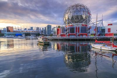 View of False Creek and Vancouver skyline, including World of Science Dome,  Vancouver, British Colu Photographic Print by Frank Fell   Art com