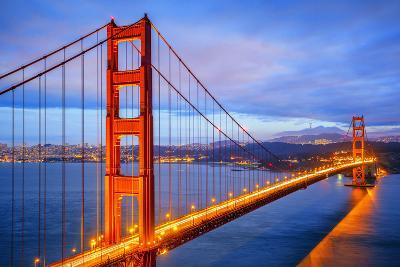 View of Famous Golden Gate Bridge by Night-prochasson-Photographic Print