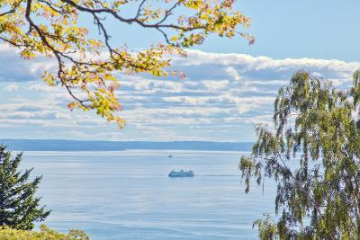 View of Ferry on Puget Sound-Mel Curtis-Photographic Print