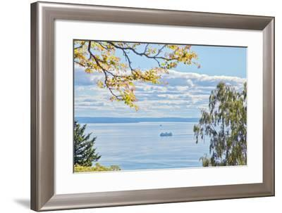 View of Ferry on Puget Sound-Mel Curtis-Framed Photographic Print