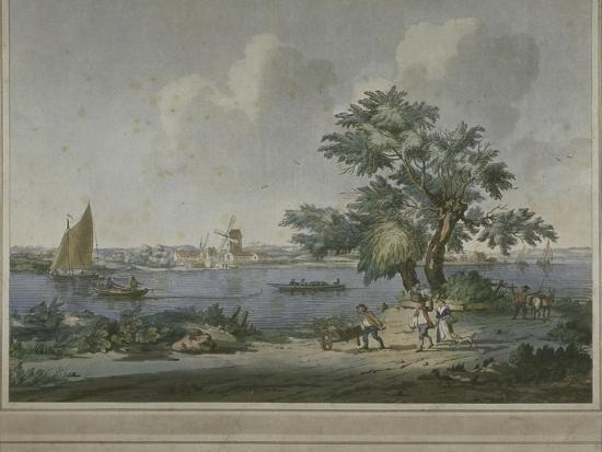View of Figures Transporting Vegetables Along the Bank of the River Thames, 1787-John the Elder Cleveley-Giclee Print