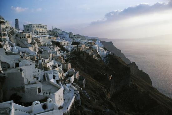 View of Fira or Thira at Sunset, Santorini Island, Cyclades Islands, Greece--Giclee Print