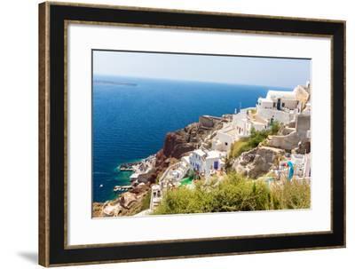 View of Fira Town - Santorini Island,Crete,Greece. White Concrete Staircases Leading down to Beauti-vitmark-Framed Photographic Print