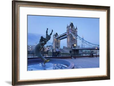 View of Fountain with Tower Bridge in the Background, Thames River, London, England--Framed Photographic Print