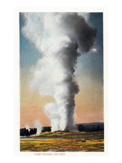 View of Giant Geyser, Yellowstone National Park, Wyoming-Lantern Press-Art Print