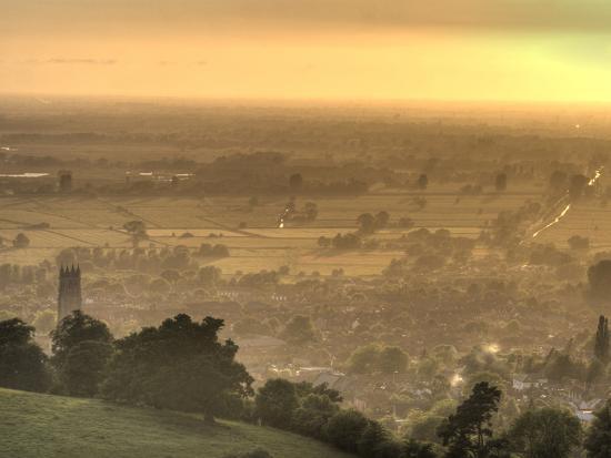 View of Glastonbury During Sunset from Glastonbury Tor, Somerset, England, United Kingdom, Europe-Sara Erith-Photographic Print
