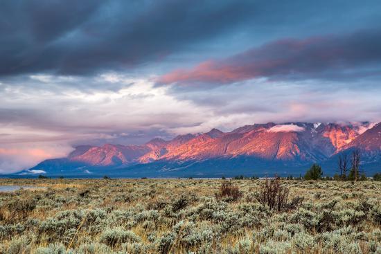 View of Grand Teton Mountain Range at Sunrise.-Victor Maschek-Photographic Print