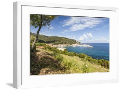 View of harbor and turquoise sea, Marciana Marina, Elba Island, Livorno Province, Tuscany, Italy, E-Roberto Moiola-Framed Photographic Print
