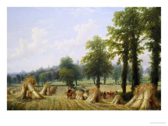 View of Harvesting near Warwick-Thomas Baker-Giclee Print