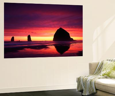 View of Haystack Rock on Cannon Beach at Sunset, Oregon, USA-Stuart Westmorland-Wall Mural