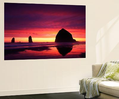 View of Haystack Rock on Cannon Beach at Sunset, Oregon, USA-Stuart Westmorland-Giant Art Print