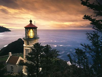 View of Heceta Head Lighthouse at Sunset, Oregon, USA-Stuart Westmorland-Photographic Print