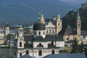 View of Historic Centre of Salzburg from Monchsberg, Austria