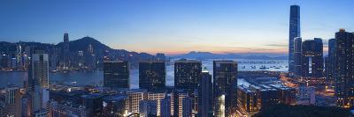 View of Hong Kong Island and Tsim Sha Tsui Skylines at Sunset, Hong Kong-Ian Trower-Photographic Print
