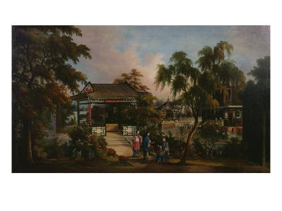 View of Howqua's Garden in Canton with Ladies by a Pavillion, c.1850--Giclee Print