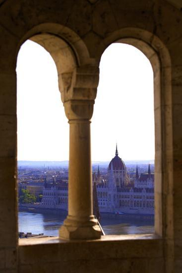 View of Hungarian Parliament Building from Fisherman's Bastion, Budapest, Hungary, Europe-Neil Farrin-Photographic Print