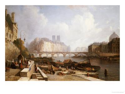 View of Ile De La Cite, Paris, from the Quai Du Louvre with the Pont Des Arts and the Pont Neuf-Caleb Robert Stanley-Giclee Print
