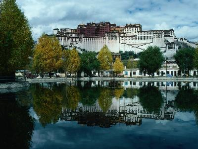 View of Impressive Potala Palace and Lake in Chingdrol Chiling (Liberation Park), Lhasa, Tibet-Richard I'Anson-Photographic Print