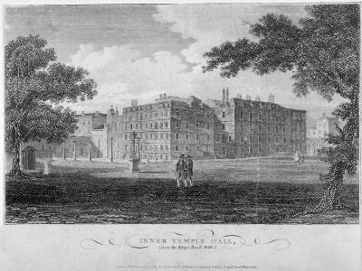 View of Inner Temple Hall from King's Bench Walk, City of London, 1804-John Greig-Giclee Print