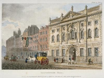 View of Ironmongers' Hall and People and a Coach in Fenchurch Street, City of London, 1811--Giclee Print