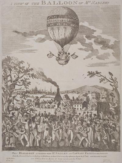 View of James Sadler's Balloon over Mermaid Gardens, Hackney, London, 1811--Giclee Print
