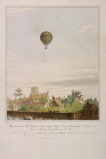 View of James Sadler's Balloon over Mermaid Gardens, Hackney, London, 1811--Giclee Print