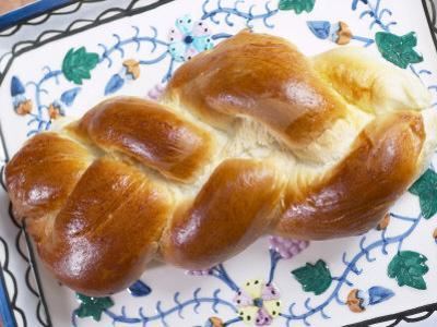View of Jewish Challah Bread on Plate