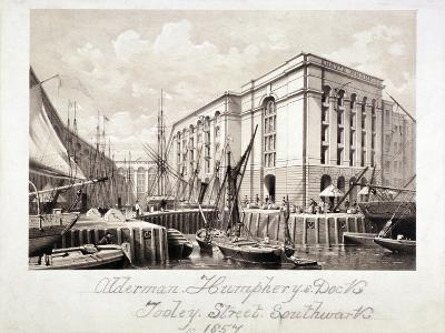 View of John Humphrey's Dock and Hay's Wharf, Tooley Street, Bermondsey, London, 1857--Giclee Print