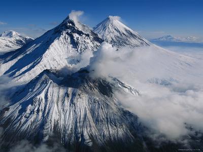 View of Kamen, Bezymianny, and Klyuchevskoy, Asias Tallest Volcano-Peter Carsten-Photographic Print
