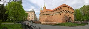 View of Krakow Barbican, Krakow, Poland