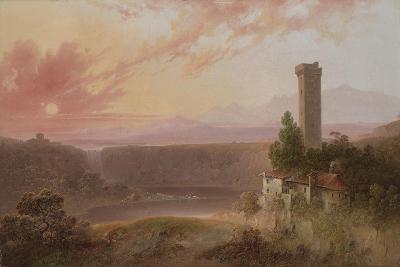 View of Lake Nemi at Sunset, c.1840-50-Joshua Shaw-Giclee Print