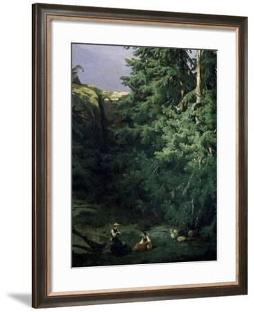 View of Lanterbrunnen Valley, in Canton of Bern, 1849-Alessandro Calame-Framed Giclee Print