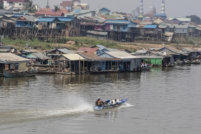 View of Life Along the Tonle Sap River Headed Towards Phnom Penh, Cambodia, Indochina-Michael Nolan-Photographic Print