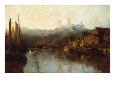 View of Lincoln Cathedral from the River-Peter De Wint-Giclee Print