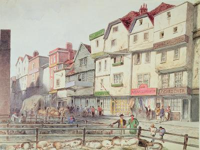View of Long Lane, with Pigs in Pens in Part of Old Smithfield Market, 1844--Giclee Print
