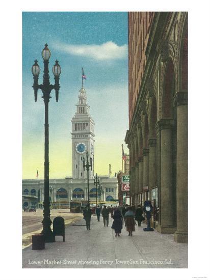 View of Lower Market St showing Ferry Tower - San Francisco, CA-Lantern Press-Art Print