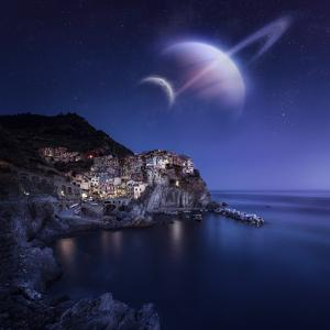 View of Manarola on a Starry Night with Planets, Northern Italy