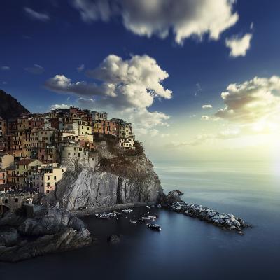 View of Manarola on the Rocks at Sunset, La Spezia, Liguria, Northern Italy--Photographic Print