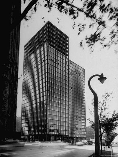 View of Mies Van Der Rohe's Glass Walled Apartment house in Chicago-Ralph Crane-Photographic Print