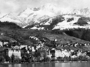 View of Montreux, on Lake Geneva, Switzerland, January 1959