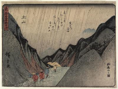 View of Mount Suzuka in Tsuchiyama, 1837-1844-Utagawa Hiroshige-Giclee Print