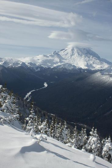 View of Mt. Rainier and White River from Crystal Mountain, Washington, USA-John & Lisa Merrill-Photographic Print