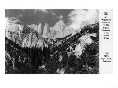 View of Mt. Whitney - Lone Pine, CA-Lantern Press-Art Print