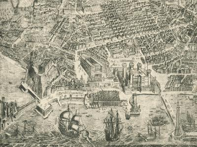 View of Naples and Castel Nuovo--Giclee Print