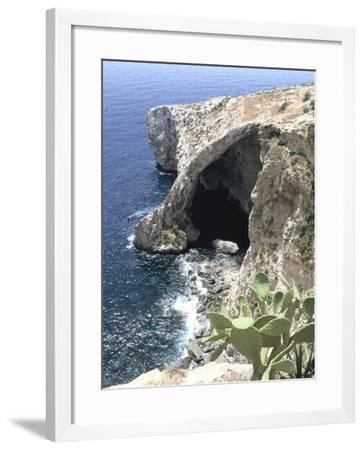 View of Natural Bridge and Boat, Blue Grotto, Malta-Peter Thompson-Framed Photographic Print