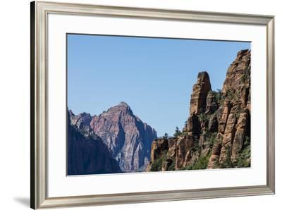 View of Navajo sandstone formations from Angel's Landing Trail in Zion National Park, Utah, United -Michael Nolan-Framed Photographic Print