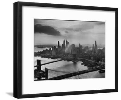 View of New York City Behind the Bridges That are Hovering over the East River-Dmitri Kessel-Framed Premium Photographic Print