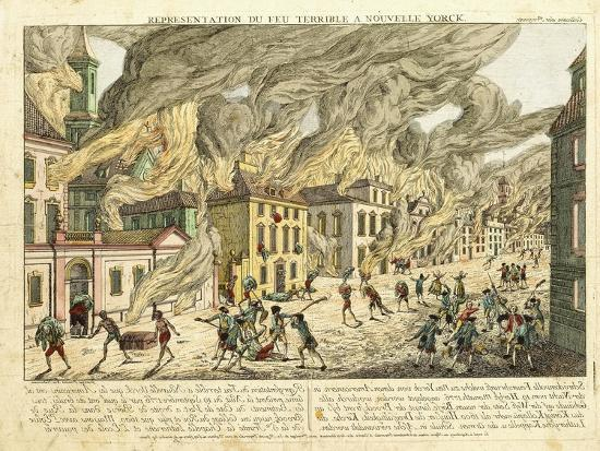 View of New York During the Great Fire of 1776; Representation Du Fue Terrible a Nouvelle York-Franz Xavier Habermann-Giclee Print